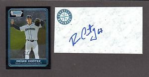 Renee Cortez RHP MINORS SEA 2001-07  SIGNED AUTOGRAPH AUTO 3×5 INDEX COA #2