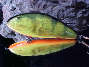 Salmo FATSO F14S RHP Color Real Hot PERCH Sinking #1 Musky/Pike Lure in the USA