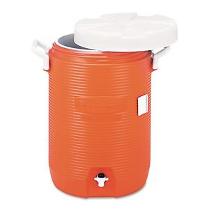 Insulated Water Cooler, 5 Gal, Orange, 10''Dia x 19 1/2''H, Polyethylene