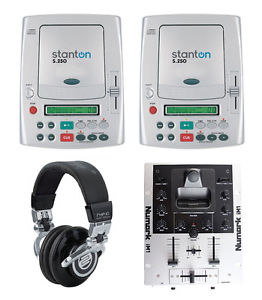 2x Stanton S-250, 1x Numark iM1 DJ Mixer with Ipod, 1x Reloop RHP10 Chrome