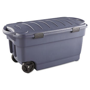 Rubbermaid Roughneck Wheeled Storage Box, 45gal, Dark Indigo Metallic RUB2463DIM