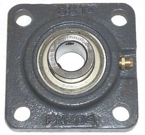 "2 Mounted 3/4"" Square Flange Bearing #204 New!"