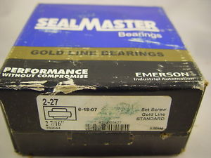 """SealMaster 2-27 Bearing Insert 2-7/16"""" Bore 110mm OD 2-9/16"""" Width 1-1/4"""" Outer"""