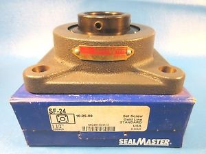 "Sealmaster SF-24 1-1/2 "" Bore, 4-Bolt Flange, Setscrew Locking Unit"