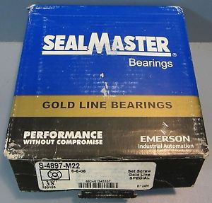 "Sealmaster Flange Block Bearing Model S-4897-M22 1-3/8"" Bore 5"" OD NIB"