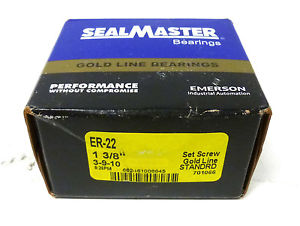 "Sealmaster ER-22 1-3/8""-Bore Gold Line Insert Ball Bearing Set Screw *NIB*"