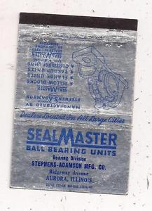 SealMaster Ball Bearing Units Stephens-Adamson Mfg. Co. Aurora IL Matchcover