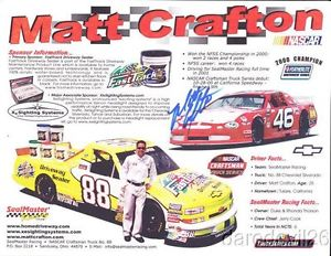 2001 Matt Crafton signed Sealmaster Chevy Silverado NASCAR CTS postcard