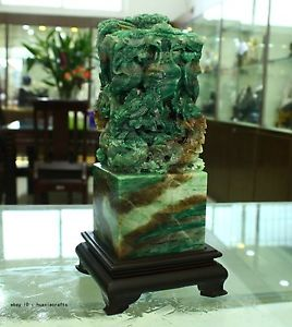 8.0 Chinese Natural Dushan Green Jade jadeite Carved Dragon Seal master Crafts