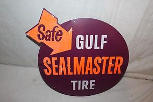 """Vintage 1950's Gulf Sealmaster Tires Tire Gas Station Oil 19"""" Metal Sign"""