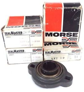"LOT OF 4 NIB MORSE SEALMASTER LFT-19 DUAL MOUNT BEARINGS 1-3/16"" BORE LFT19"