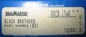 Seal Master Bearings Black Bros. 1601