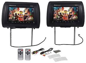 "Pair Rockville RHP91-BK 9"" Digital Panel Black Car Headrest Monitors w/ Speakers"