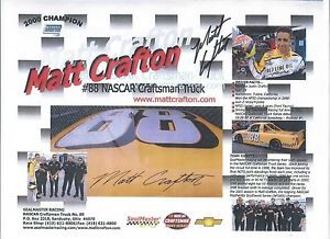 SIGNED!! 2001 MATT CRAFTON #88 SEALMASTER CRAFTSMAN TRUCK SERIES P0STCARD