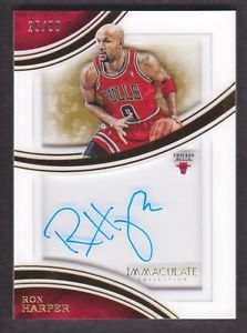 2015-16 Immaculate Collection Shadowbox Auto #RHP Ron Harper /99 Chicago Bulls