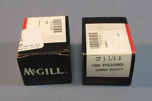 "Lot of 2 McGill SF 1 1/4 S Cam Follower Lubri-Disc 1/2"" Stud NIB"
