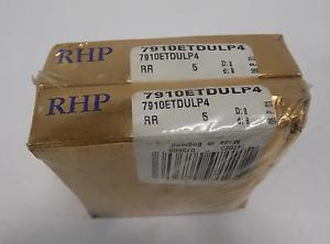RHP ANGULAR CONTACT BALL BEARING LOT OF 2  7910ETDULP4 NIB