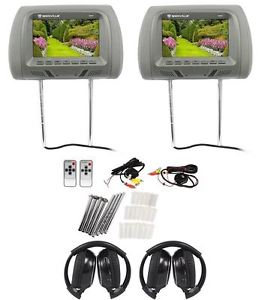 "Pair Rockville RHP7-GR 7"" Grey TFT-LCD Car Headrest Monitors+2 Wireless Headsets"