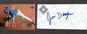 Juan Dominguez RHP MINORS TEX  A' s 2001-06  SIGNED AUTOGRAPH AUTO 3×5 INDEX COA