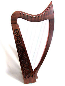 LARGE SOLID WOOD Harp ROSE Celtic IRISH 21 Strings FREE Tuner Carrying Case New