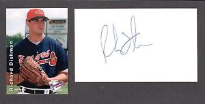 Richard Dishman  RHP MINORS 1997-02 ATL MILW SIGNED AUTOGRAPH AUTO 3×5 INDEX COA