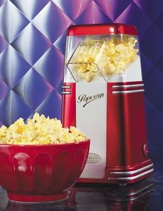 Mini Hot Air Popcorn Popper ~ Electric Popcorn Maker w/ Retro Red Machine Design