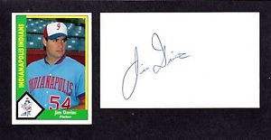 Jim Davins RHP MINORS 1985-91 PIT TWINS MON  SIGNED AUTOGRAPH AUTO 3×5 INDEX COA