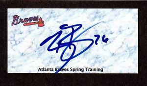 Ryan Basner RHP  MINORS  ATL Braves 2003-08  SIGNED AUTOGRAPH AUTO 3×5 INDEX COA