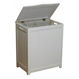 Oceanstar RHP0109W Rectangular Laundry Wood Hamper, White Finished
