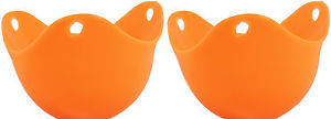 Qty 2 Silicone Egg Poacher Cook Poach Pods Kitchen Cookware Cup Orange US Seller