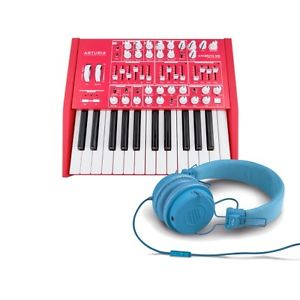 Arturia Red Minibrute Analog Synth LIMITED with Reloop RHP-6 Blue Headphones