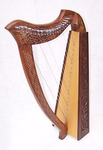 Real Wood Celtic Harp 19 string Irish Style with Bag & Extra strings key includ