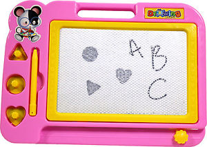 Kids Erasable Magnetic Drawing Board Stamps Pen Doodle Toy Game Travel Size Pink