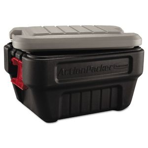 Rubbermaid ActionPacker Storage Box, 8gal, Black/Gray – RHP 1170 BLA
