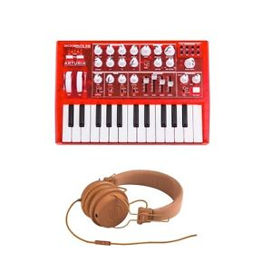 Arturia Red Microbrute with Reloop RHP-6 Orange Headphones