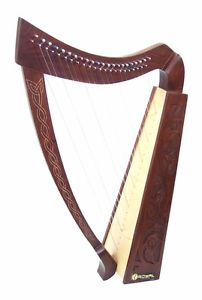 "22 String Harp Celtic Design 36"" TALL Extra Strings Tuner Carrying Case New"