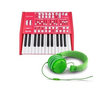 Arturia Red Minibrute Analog Synth LIMITED with Reloop RHP-6 Green Headphones