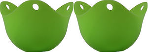 Qty 2 Silicone Egg Poacher Cook Poach Pods Kitchen Cookware Cup Green US Seller
