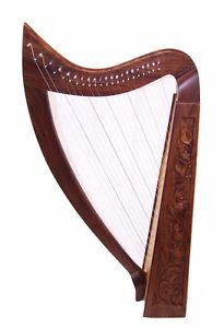 Large Rose Harp 21 string Irish Celtic Style Solid Wood free Bag & Extra strings