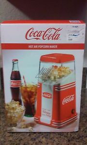 New Coca Cola Hot Air Popcorn Machine, 8 Cup Compact Retro Home Pop Corn Maker