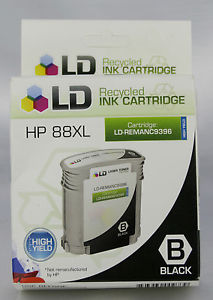 A LOT OF 2 LD Reman Replacements for HP 88XL High Yield BLACK Inkjet Cartridges
