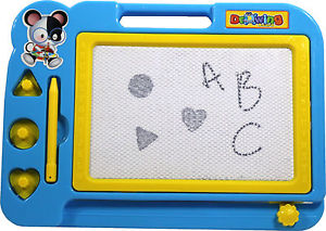 Kids Erasable Magnetic Drawing Board Stamps Pen Doodle Toy Game Travel Size Blue