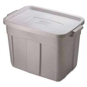 """Rubbermaid Roughneck Storage Box, 1gal, Steel Gray RUB2215CPSTE"""